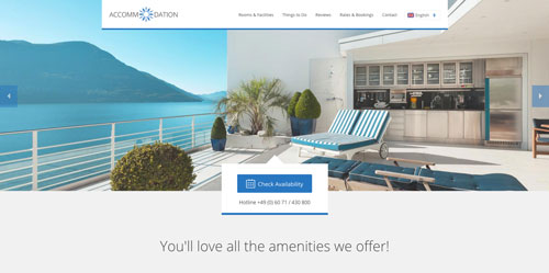 Accommodation Landing Page Blue