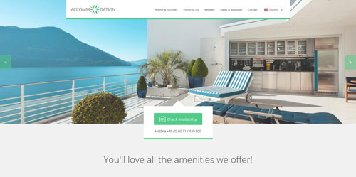 Accommodation Landing Page Green