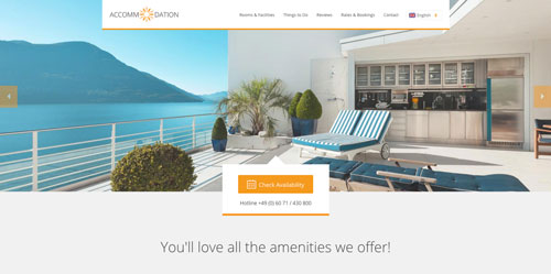 Accommodation Landing Page Orange