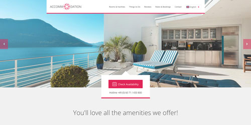 Accommodation Landing Page Pink